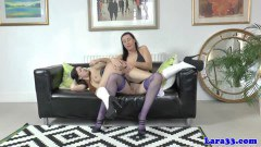Brit mommy Lara Latex fingers girl next door on the couch