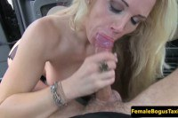 Stockinged posh cabbie Rebecca More deepthroats passenger tool before and after sex