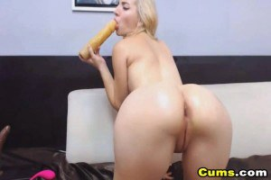 Blonde cam girl goes ass to mouth with her dildo
