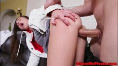 Tiny teenager greenhorn hard pounded after blow job