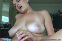 Blue hair amateur with big boobies creampied in POV