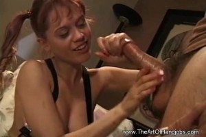 Stepdaughter tugs stepdad before giving a nice footjob