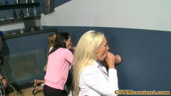 Ava Adams and her CFNM friends blowing at gloryhole festivity