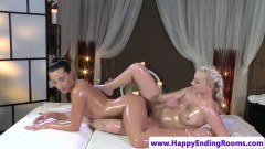Oiled dyke masseuse gives romantic bodyrub