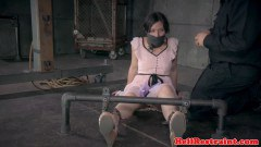 Gagged submissive brunette chained and toyed by fellow - duration 06:45