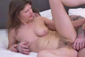 English hosewife with hairy muff fucking and blowing