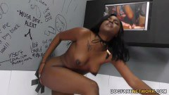 Yara Skye takes a white cock inside her chocolate pussy at the gloryhole - duration 11:57