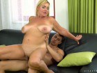 Pam Pink curvy mature takes a young cock in her pussy