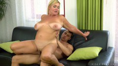 Pam Pink curvy mature takes a young cock in her pussy  - duration 07:52