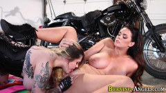 Alison Tyler gets her muff eaten by tattooed doll Farrah Paws