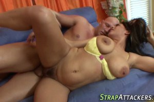 Raylene curvy MILF with huge boobies mouth cummed after strapon sex