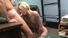 Inked blonde tranny cocksucking after anal  - duration 06:14
