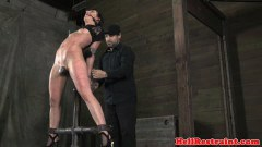 Tiedup nipple clamp whore caned by maledom - duration 06:59