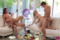 Alexa Grace and Melissa Moore attractive babes drilled in foursome
