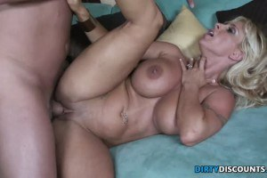 Blonde cougar with huge hooters fucked so hard
