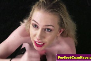 Grace Harper British blonde babe in stockings facialized by photographer