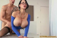 Amy Anderssen big breasted cougar rides perv's cock at the office