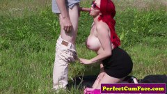 Jasmine James fiery redhead sucks a British tool outdoors
