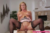 Cherie Deville blonde MILF in lingerie rides delivery boy's big tool