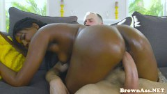 Brown posterior gf banged in tiny gully hole close-up