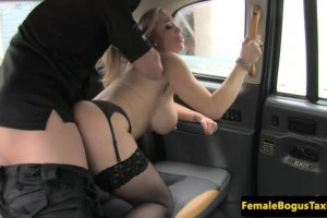 Rebecca More busty brit cabbie taken from behind on her backseat