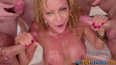 Alexis Fawx busty blonde MILF gets face bukkake during blowbang