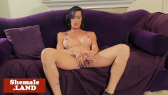 Busty inked trans girl wanks tool solo