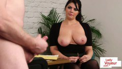 Bigtitted British peeping Pam encourages her slave to wank at the office