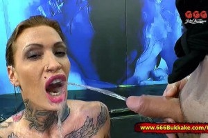 Calisi inked German MILF mouth pissed before groupsex