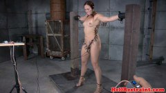 Bound sex slave ejaculates while beaten by dom