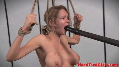 Large titted slave tied up and clamped by maledom