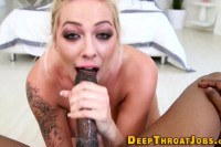 Harlow Harrison inked blonde with big boobies chokes on black dick