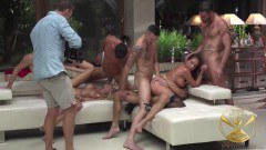 Malena and Linda Leclair ass fucked and DP'ed at orgy