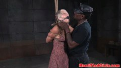 Fair-haired domination engages in choke play with black maledom