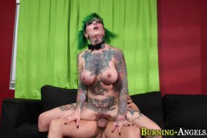 Sydnee Vicious large breasted alt girl scout fucks bald dude