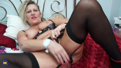 Blonde mature in stockings fingers that still craving twat
