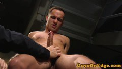 Tied up slave wanked til the edge before jizz