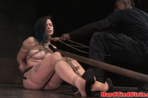 Large breasted domination sex slave tied up and toyed by maledom