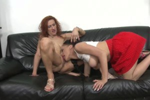 Lustful old and young lesbo couple fooling around with their twats
