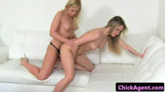 Light haired dyke agent pussyfucks newbie using strapon