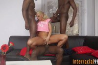 Fit European blonde double penetrated in 4some with black dudes