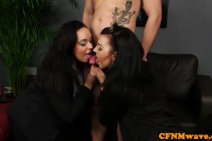 Anastasia Lux and Bluebell stockinged British femdoms jerk and titfuck lucky chap