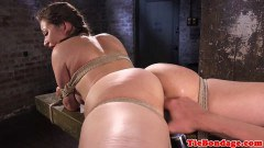 Busty bondage sex slave tied up and dick storage rubbed