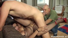 Lolita European wife in fishnet costume pussy pounded by lover in front of cuckolding hubby