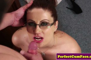 Madlin Mooon redhead with spex and blue eyes sucks dick to keep her job