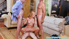 Raylin Ann gorgeous blonde pleasuring three old men at the same time