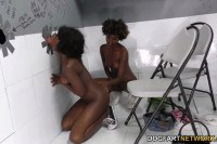 Noemie Bilas and Daizy Cooper two ebony sluts sucking and fucking white dick at the gloryhole