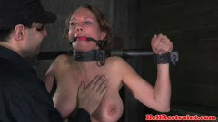 Boobs bounded slave received corporal punishment