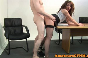 CFNM office hottie sucks dick and gets her sweet cunt fucked