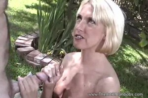 Dumb blond woman with braces makes guy jizz all over her titties after handjob